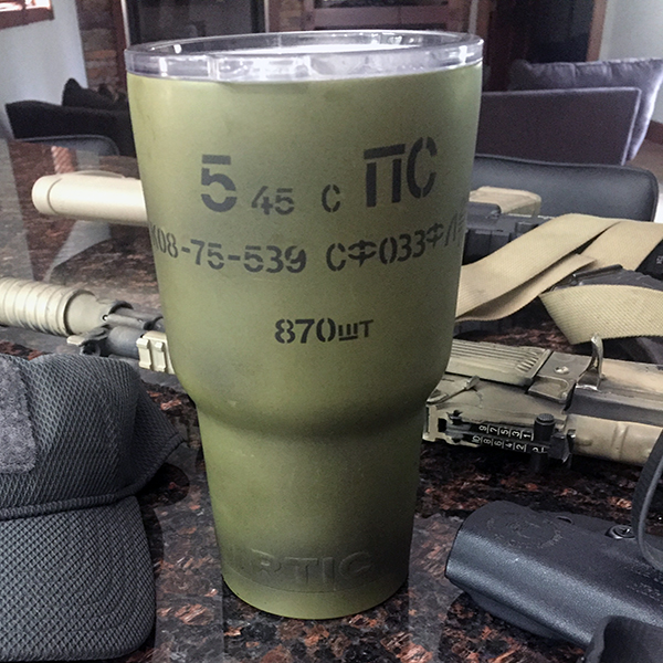 ASW Ammo Army CERAKOTE 30 oz  RTIC TUMBLER RUSSIAN SPAM CAN 5 45